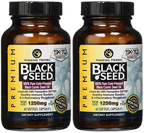 Amazing Herbs Premium Black Seed Oil 1250mg 60sfg (120 count)