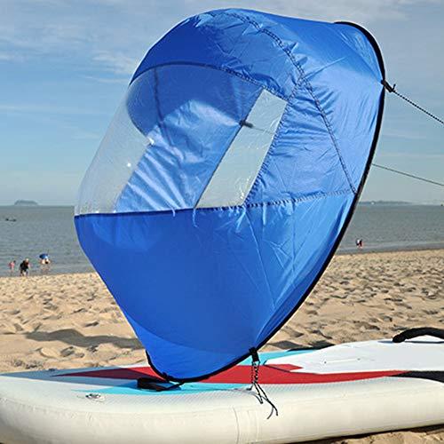 Faltbares Kajak-Segel, 106,7 cm, klares Fenster, Rudern, Bootssegel, langlebiges Wind-Paddel mit Aufbewahrungstasche für Kajak/Kanu/aufblasbare Boote, blau
