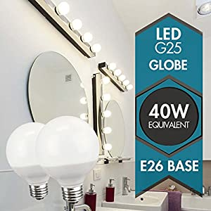 TCP RLG255W27KND3 Decorative Globe Vanity Light Bulbs, Round, G25, E26 Base, 40W Equivalent, Non-Dimmable, Perfect For Bathrooms, Soft White (3 Pack)