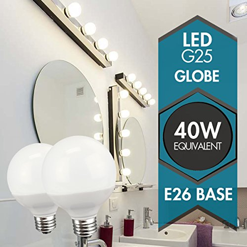 TCP G25, E26 Base, LED Globe Light Bulbs, 40W Equivalent, ENERGY STAR Certified, Dimmable, Daylight