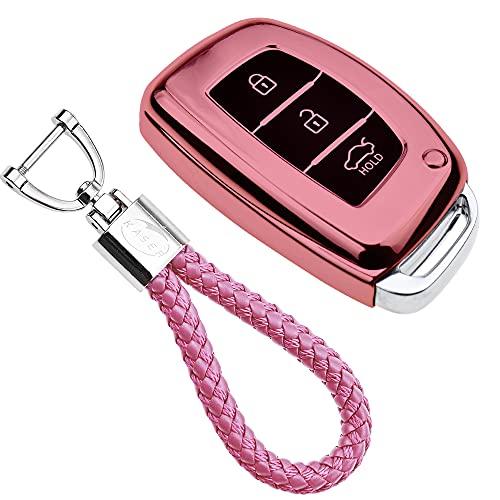 kaser Autoschlüssel Hülle für Hyundai – Cover TPU Silikon Hochglanz Schutzhülle Schlüsselhülle für Fernbedienung Keyless Hyundai Kona i10 i30 ioniq Tucson Santa Fe Schlüsselbund (Rosegold)