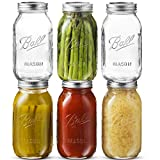 Ball Regular Mouth Mason Jar 32 oz [6 Pack] Glass Mason Jars With Airtight lids and Bands - For Canning, Fermenting, Pickling - Freezing, Microwave & Dishwasher Safe - Bundled With SEWENTA Jar Opener