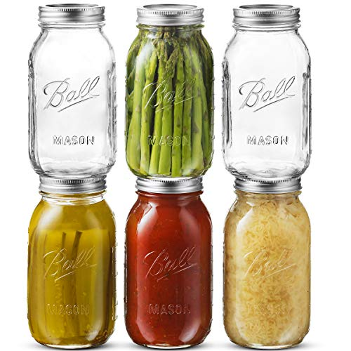 Ball Regular Mouth Mason Jar 32 oz [6 Pack] Glass Mason Jars With Airtight lids and Bands - For Canning, Fermenting, Pickling - Freezing, Microwave & Dishwasher Safe - Bundled With SEWANTA Jar Opener