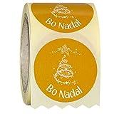 ETINOVA N16 - Etiquetas adhesivas, pegatinas, stickers, Navidad, Regalos, juguetes -'Bo Nadal tofe' - Rollo de 250 piezas - 35 mm