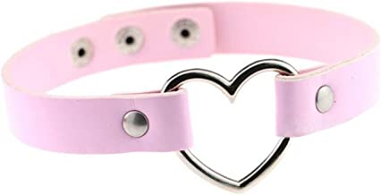 Bullidea 1X Fashion Women Men Cool PU Love Heart-Shape Ring Leather Collar Choker Necklace(Pink)