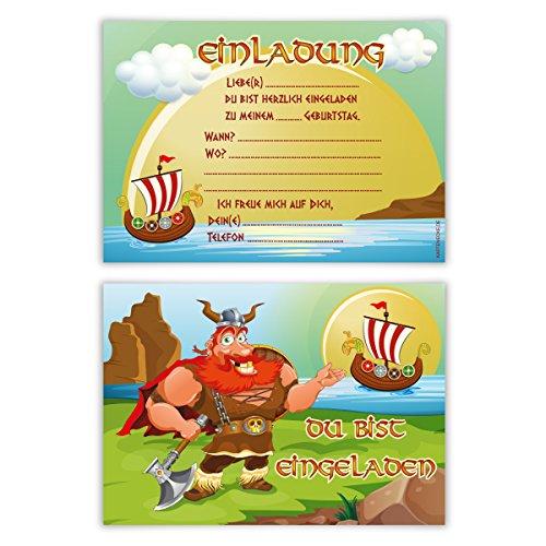 Einladungskarten Kindergeburtstag Jungen Mädchen 8 Stück Karten - Wikinger