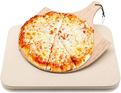 Rectangle Pizza Stone 15 '' X 12 '' BROODBAKSTEEN Met Houten Pizza Paddle Cordieriet Grillen Stone Ideaal Weerstand Op Hoge Temperatuur Voor Ovens Grills BBQ