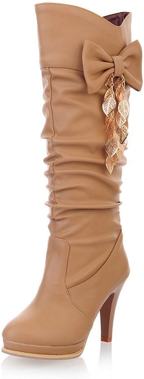 Fashion Heel Womens High Heel Round Toe Platform Knee High Boot with Bow
