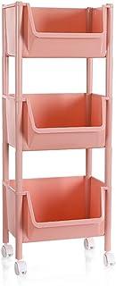 Tablettes de rangement à 3 niveaux populaires Cadre de rangement rose Panier de rangement en plastique à panier carré ouve...