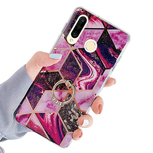 Herbests Kompatibel mit Huawei P30 Lite Hülle Handyhülle Glänzend Glitzer Bling Marmor Muster Silikon Schutzhülle Soft Stoßfest Handytasche mit Diamant Ring Halter Ständer,Rot Lila