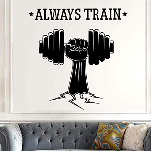 Gym naamsticker fitness crossfit hand halter decal body building affiche vinyl muursticker wanddecoratie gym zelfklevend 58 x 59 cm