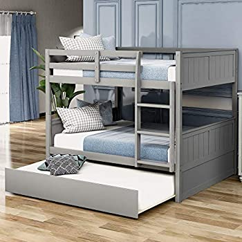 Full Over Full Bunk Bed with Trundle Solid Wood Bunk Bed Frame Convertible Full Size with Rails and Ladder for Teens  Grey