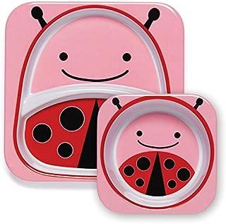 Skip Hop婴幼儿动物园主题喂食餐具,餐盘和碗餐具套装 Multi Livie Ladybug