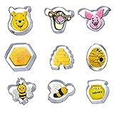 Wecepar Cookie Cutters 9 Piece Bee Cookie Cutters Set with Bees,Pooh Beer, Tiger, Piglet, Beehive, Honey Jar, Honeycomb