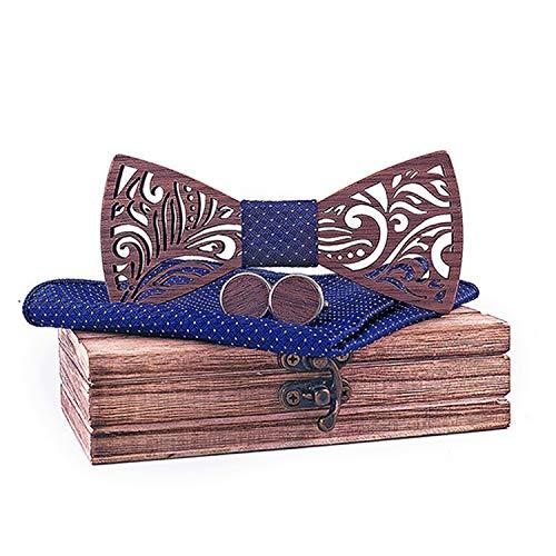 Conjunto de pajarita de madera y pañuelo de corbata de regalo para hombres Navidad