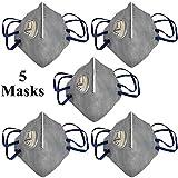 Tdas anti pollution mask for men women n95 with inbuilt filter air masks reusable (V-410-V) - 5 pcs...