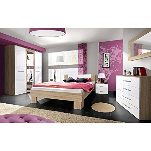Paris Prix - Chambre Complète Adulte 6p Vicky 160x200cm Blanc & Chêne