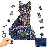 PrettyGift Puzzle de Madera Puzzle de Fox, Puzzle de Colorido de Forma única Puzzle Animales para Adultos y Niños Colección de Juegos Familiares