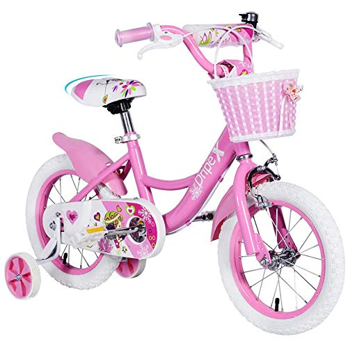 Dripex 18 Inch Kids Bike with Training Wheels and Kickstand for Girls Age 8-13,Dirt Bike with Basket and Pedals Pink