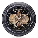 Lafocuse Reloj de Pared Metal Mapa Mundi Negro Silencioso Reloj Cuarzo Retro con Números Romanos para Salon Comedor Dormitorio 32 cm