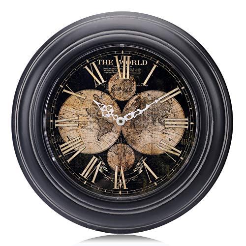 Lafocuse 32 cm Reloj de Pared Metal Mapa Mundi Negro Silencioso Reloj Cuarzo Retro con Números Romanos para Salon Comedor Dormitorio