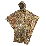 Auscamotek Military Camo Rain Poncho Hooded Waterproof Camouflauge Raincoat for Hunting Hiking Camping Fishing