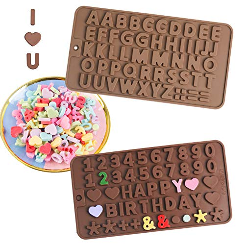 ITME 2Pcs Stampo per Cioccolato in Silicone, Riutilizzabili Antiaderente Stampi per Lettere e Numeri di Cioccolato per Decorazione di Biscotti con Torta al Cioccolato