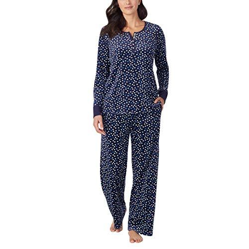 Nautica Womens 2 Piece Fleece Pajama Sleepwear Set (X-Large, Navy Blue Dots)