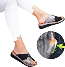 AXHSYZM Women Artificial PU Shoes Slippers Orthopedic Bunion Corrector Comfy Platform Wedge Ladies Casual Big Toe Correction Sandal