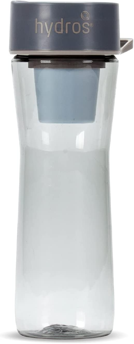 Hydros | 20 oz Filtered Water Bottle |Powered by Fast Flo Tech | 20 Seconds Quick-Fill-Up | 2.5 Cup Capacity BPA Free Portable Water Filter Bottle | Grey