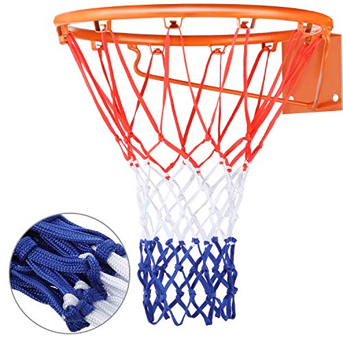 Heavy Duty Basketball Net Replacement All Weather Basketball Net Fits Standard Indoor or Outdoor, 12 Loop (Red, White, Blue)