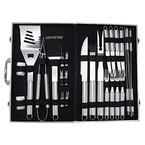 51dNiUvIVoL - BBQ Tools Set BBQ Grill Tools Kit 20 stücke Edelstahl BBQ Werkzeuge Set mit Aufbewahrungskoffer Grillzubehör im Freien (Farbe : 27pcs, Size : 43 * 27 * 8cm)