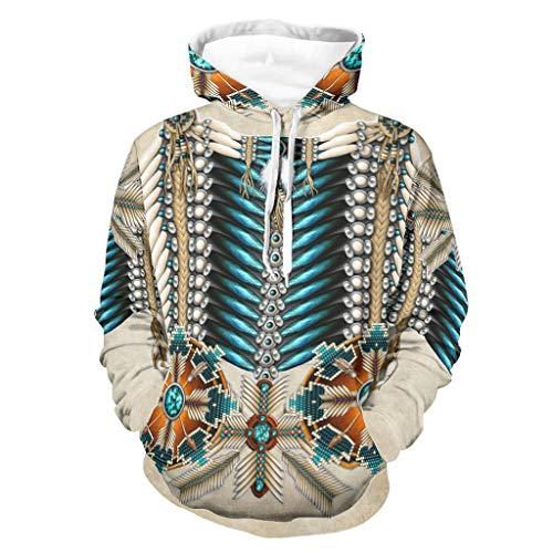 Ouniaodao Sudadera con capucha para hombre, diseño de rueda de medicina nativa americana, personalizada, talla L, color blanco