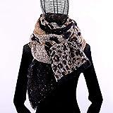 Bufanda con Estampado de Cuadros de Leopardo Moda de Invierno Chal con Flecos a Cuadros Bufanda Larga-Marrón Oscuro