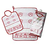 Juego de guardería escolar con colchoneta para bordar y pata de 2 piezas: babero de rizo con goma elástica de 28 x 32 cm y toalla de 40 x 55 cm, algodón 100 % (rojo)