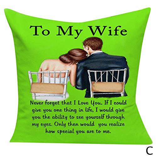 Hunpta @ Valentinstag Paar Kissenbezug Kissenhüllen zu meiner Frau/Meinen Ehemann Kreativ Kopfkissenbezug für Wohnzimmer Schlafzimmer Sofa Zuhause Büro Zierkissenbezüge mit Reißverschlüsse