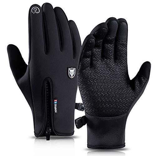 Touch Screen Cycling Gloves Men - Unisex Full Finger Outdoor Waterproof Windproof Cycle Mountain Bike Running Anti-slip Smartphone Glove for Women,Sports,Winter,Driving,Hiking,Climbin,Biking(Black-XL)