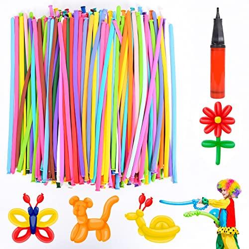 Herefun 200 Stück Modellierballons, Magic Luftballons mit Luftpumpe Zufällige Farbe, Bunt Lange Verdrehen Ballons Deko Modeling Balloons Tierballons Mehrfarbenballons für Geburtstag Party Hochzeit