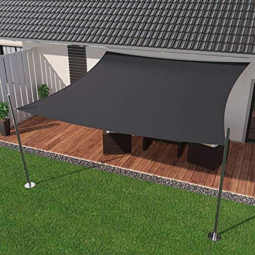 IBIZSAIL Toldo impermeable, protección solar para jardín o balcón, de PES en ángulo recto, 400 x 400 cm, antracita (incluye cuerdas tensoras)