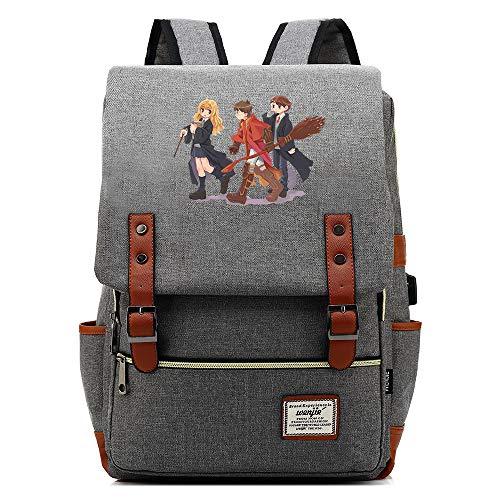 NYLY Mochila Casual Harry Potter Anime Avatar Backpack Mochila de Estudiante para Diez a dieciséis años Mochila para portátil con Puerto USB Unisex Gris