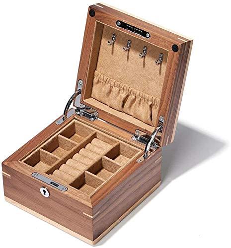 Joyería Cajas de pecho Joyas Cajas de madera maciza Joyería Caja de pecho Capa doble con loca Joyería Organizador Caja de almacenamiento versátil para joyería Cajas de exhibición para niña