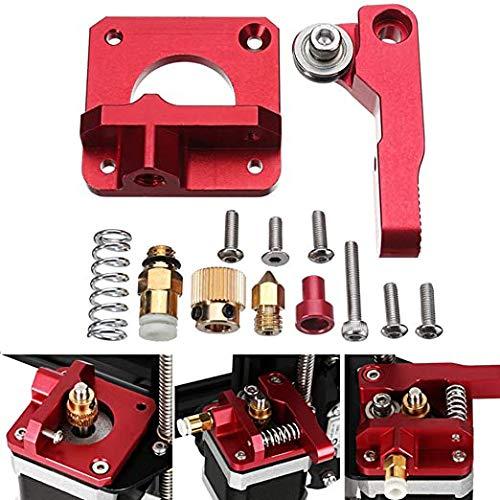 3D Extrusor de Aleación de Aluminio,Extrusor Impresora,Extrusor con Engranaje de 40 Dientes,Kit de Extrusora de Aluminio para Impresora 3D,para CR-10(Versión Derecha,Rojo)