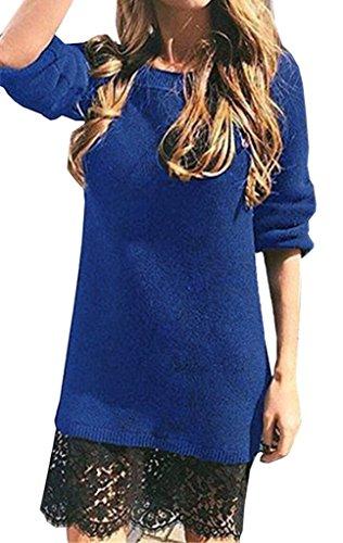 Bigood Robe de Cocktail Soirée Automne Hiver Pull Dentelle Manche Longue Col Rond Mariage Bleu Bust 98cm