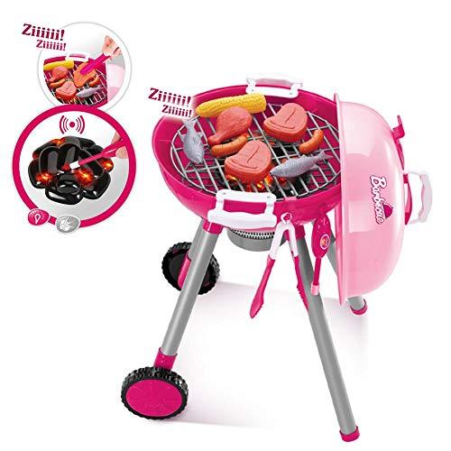 Kugelgrill Barbecue Gartengrill Spielzeug Kinder mit Licht und Sound Grill Spielzeug mit Viele Zubehör, Besteck, Tassen, Zangen und Zünder