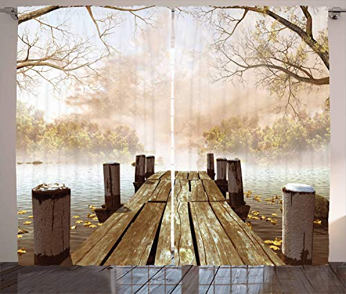"""Ambesonne Autumn Curtains, Old Wooden Jetty on a Lake with Fallen Leaves and Foggy Forest in Distance, Living Room Bedroom Window Drapes 2 Panel Set, 108"""" X 84"""", Brown Taupe"""