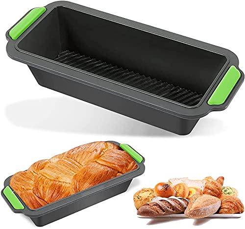 Bluelves Silicona Moldes para Hornear Pan, Moldes de Pan Rectangular, Moldes de Padería, Silicona Molde para Pan No Pegajosos, para Cocina Tortas y Pan Caseros (Gris-1)