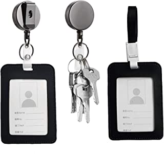 ID Badge Holder Reel Clip Retractable Keychain Vertical Clear Lanyard for Id Name Leather Card Business Badge Holder (One Size) - Amazon Vine