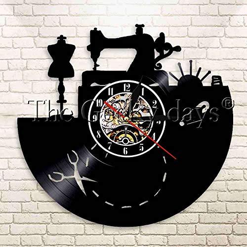 UIOLK Máquina de Coser Vintage, Herramientas de Sastre, Reloj de Pared con Registro de Vinilo, Tienda de Ropa, maniquí, decoración, Reloj de Pared