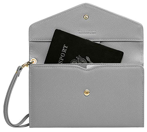 Krosslon Rfid Passport Holder Wristlet Travel Wallet Trifold Documents Organizer Slim Purse, Fit US UK CA Passport Cover Traveling Accessories for Women, Storm Gray(217#)