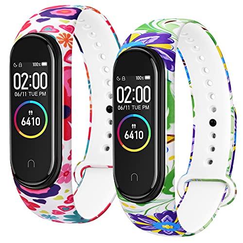 Oumida 2 PCS Bracelet pour Xiaomi Mi Band 4/ Xiaomi Mi Band 3, Bracelet Silicone Souple Respirant Coloré pour Xiaomi Mi Band 3/ Mi Band 4 (5PACK)